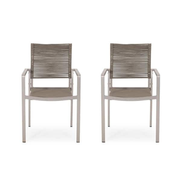 Lillian Outdoor Modern Aluminum Dining Chair With Rope Seat Set