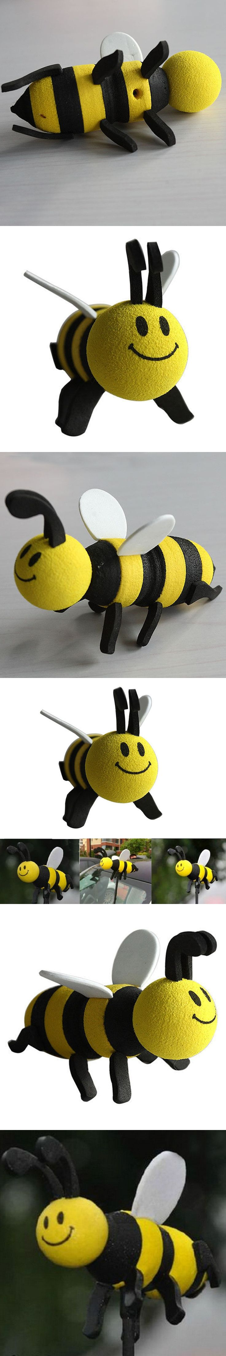 MAYITR Cute Smiley Honey Yellow Bumble Bee Antenna Pen Topper Car Aerial Ball Decoration Car Styling Ornaments