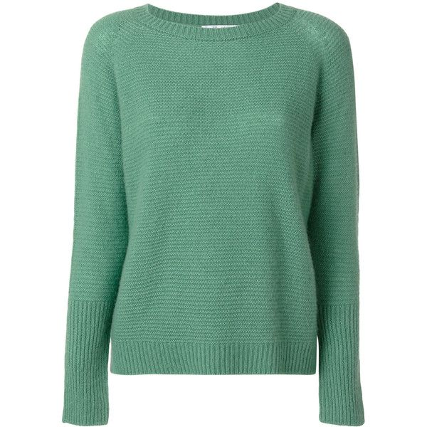 Max Mara knitted jumper ($895) ❤ liked on Polyvore featuring tops, sweaters, green, maxmara, green top, jumpers sweaters, green sweater and green jumper