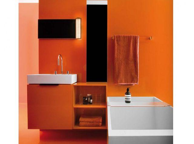 Les 25 meilleures id es concernant salles de bains oranges for Salle bain orange