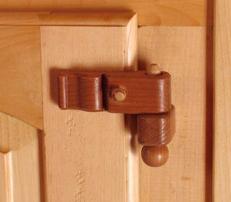 Wooden hinges [This picture is upside down; or maybe the pin has just been put in from the bottom (watch for a while and see if it falls out. Pretty hinge, though]