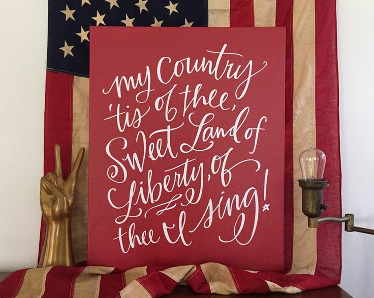 My country, 'tis of thee, Sweet land of liberty, Of thee I sing; Land where my fathers died, Land of the pilgrims' pride, From ev'ry mountainside Let freedom ring! Lyrics from America,1831 about LL ca