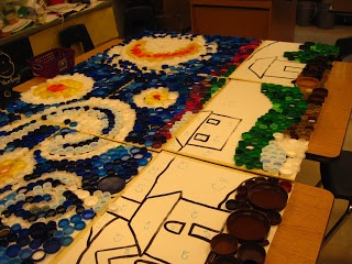Lines, Dots, and Doodles: Bottle Cap Mural #2. A blog site by an elementary art teacher w/ tons of ideas by grade level, topic, and medium/technique.