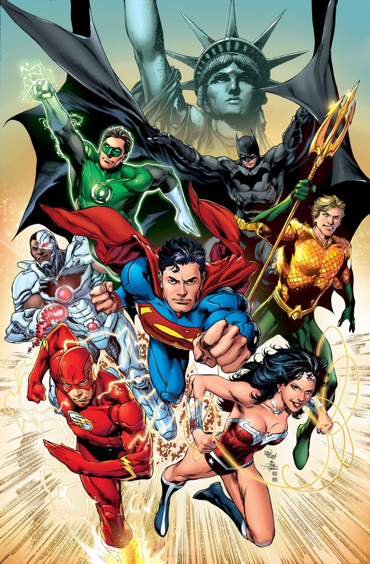 Justice League - Batman - Hal Jordan - Green Lantern - Barry Allen - Flash - Cyborg - Superman - Aquaman - Wonder Woman - Cover