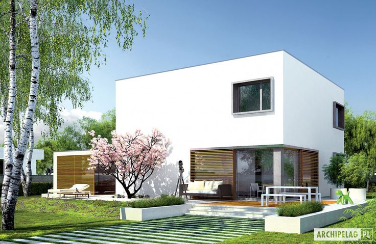 Projekty domów ARCHIPELAG - EX 10 (z wiatą) soft