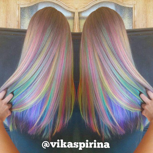 Rainbow hair color by Victoria Spirina. Pastel Hair Mermaid Hair Unicorn hair fb.com/hotbeautymagazine