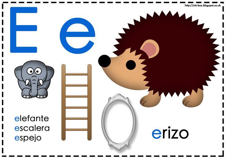 Asociamos los sonidos con las grafías convencionales - Letra e - La pedagogía Montessori divide las vocales y consonantes en dos colores: azul y rojo/rosa.
