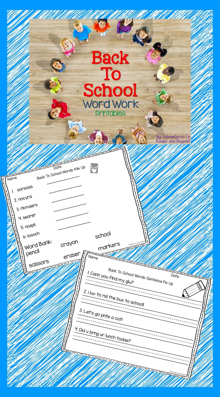Word work activities with Back To School vocabulary!   Perfect for morning work, literacy centers, early finishers and more!  Printables included are: 2 word boxes  2 ABC order  2 word searches 2 word mix ups 2 sentence fix ups 2 syllables