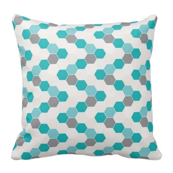 honeycomb pillow decorative throw pillows teal gray 20 liked on polyvore featuring home