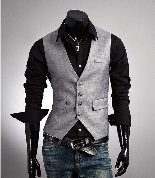 Fashion Classic Style Mens Vest - Love the gray/silverish with black combination.<3