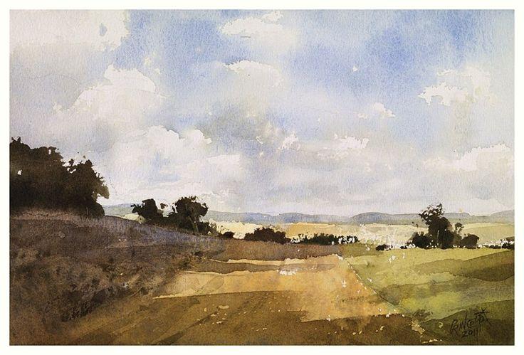 【前方之路】27*36CM,Watercolour,2011年,....By Chien Chung Wei,簡忠威老師2011水彩課堂示範