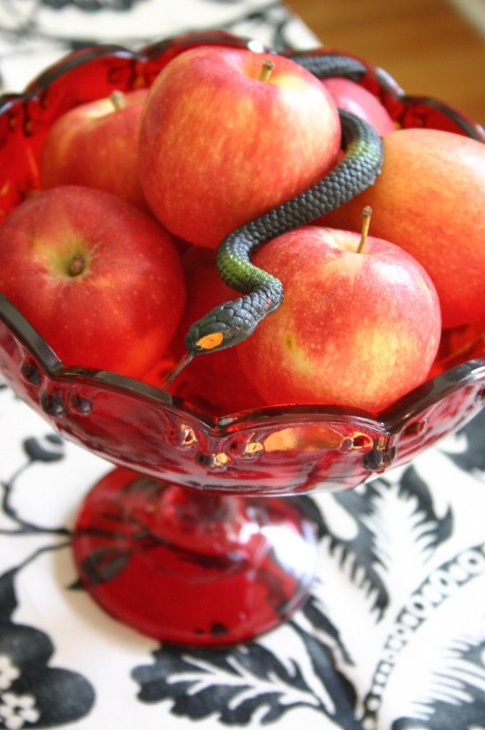Poison red apples. Think Once Upon a Time.