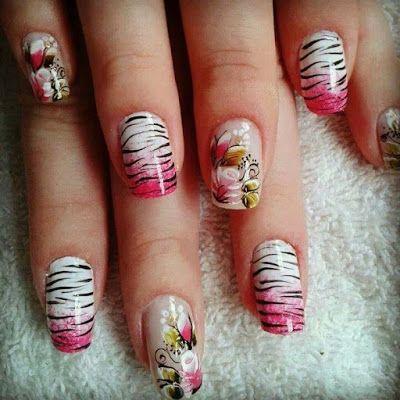 decoração nas unhas em tons de rosa