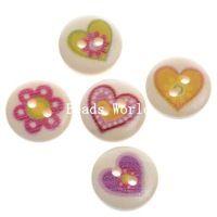 100 Nature Wood Šicí Tlačítka Scrapbooking 2 otvory Mixed srdce vzorek 15 mm DIY šperky dekorace (W04148 X 1)