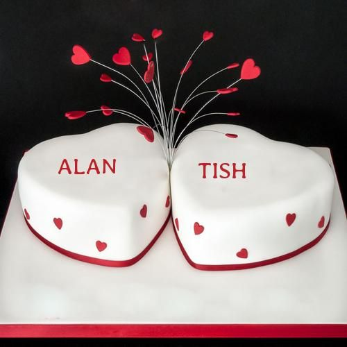 Write Name on Happy Anniversary Heart Cake Online
