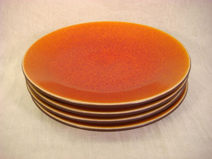 URANIUM ORANGE DINNER PLATES CRACKLE SET OF 4 MID CENTURY MADE IN FRANCE in Pottery & Glass, Pottery & China, China & Dinnerware | eBay