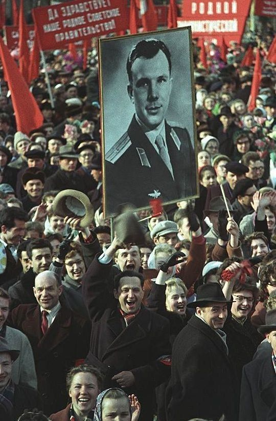 GAGARIN YURI boy Russian - The FIRST COSMONAUT PLANET. The USSR. Moscow. Red square.  People meet Yuri Gagarin April 14, 1961 year