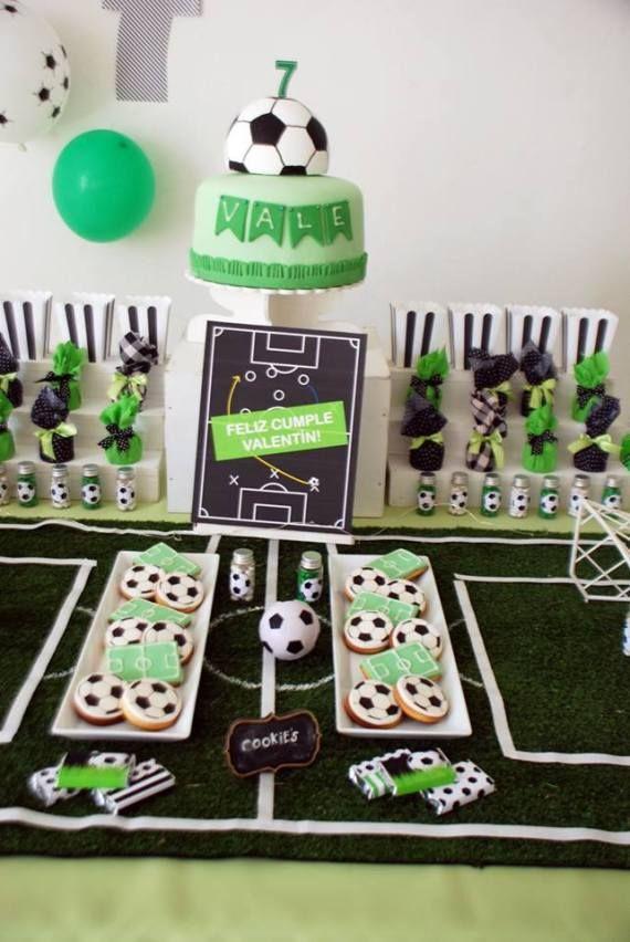 Soccer Themed Birthday Celebration Field Decor Soccer Party Decorations Soccer Birthday Parties Sports Birthday Party