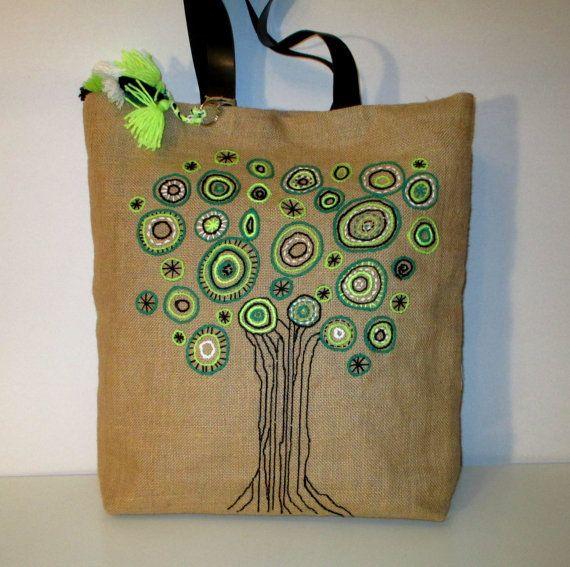 Cinghie di juta a mano astratto tote elegante borsa in pelle, uno di un sacchetto di gentile, chic, chiaro, da collezione, città, elegante