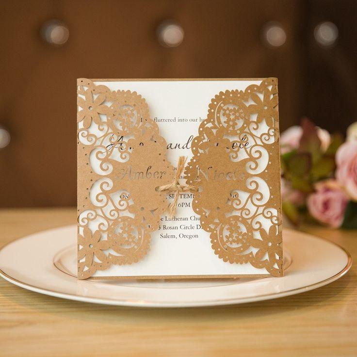 golden wedding card making ideas%0A Rustic Elegance Laser Cut Wedding Invitation Cards with Burlap Band SWWS