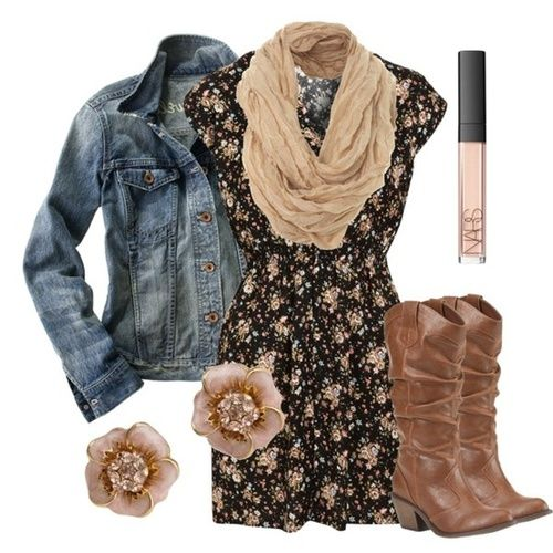 Black Floral Print Dress with a light washed jean jacket on top and accessorized with an ivory colored scarf and flower earrings. Wear with cowboy boots (or riding boots when improvising).