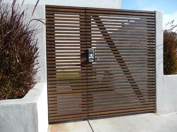 Modern wood slat fence, El Segundo - Modern - Entry - Los Angeles - TKO Structures