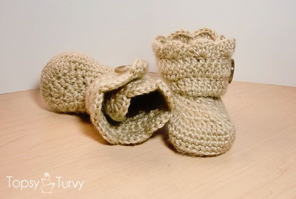 Crochet Wrap Around Button Baby Boots Pattern : Crochet wrap around button infant boots- girls and boys ...