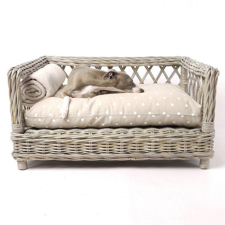 Raised Rattan Dog Basket Bed