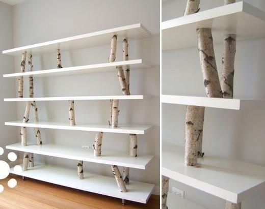 "The Shiro Shelving balances the need for storage with poetry of natural materials. Birch branches act both as structure for shelves and a magical forest for recycled garbage bag chickens. Dimensions: 78""w x 70""h x 16""d. Bench Dimensions: 78""w x 30""h x 16""d. Koko Architecture + Design"