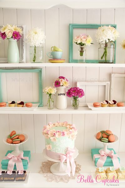 Sweet dessert table idea, I love the colors! This is one of the cutest ones I've seen!