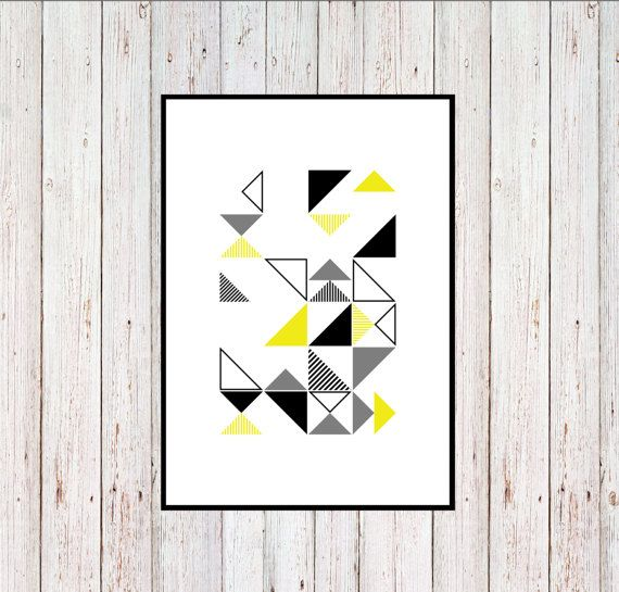 Green Triangles Printable Geometric Printable by KYLprintable