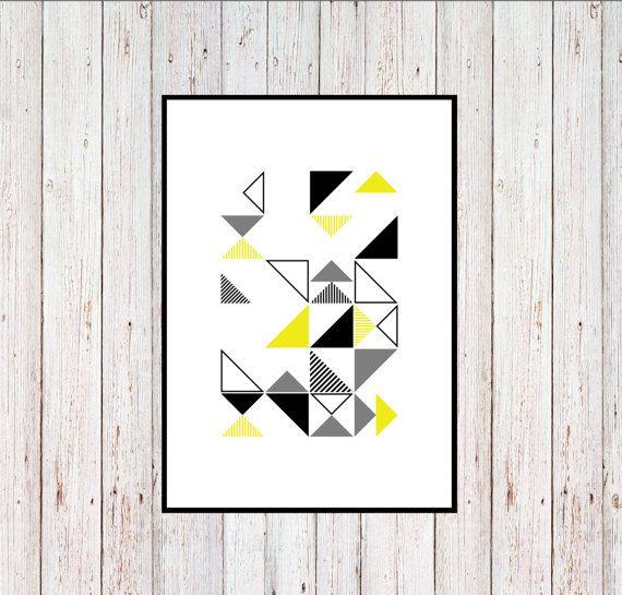 Green Triangles Printable Geometric Printable by KYLprintable