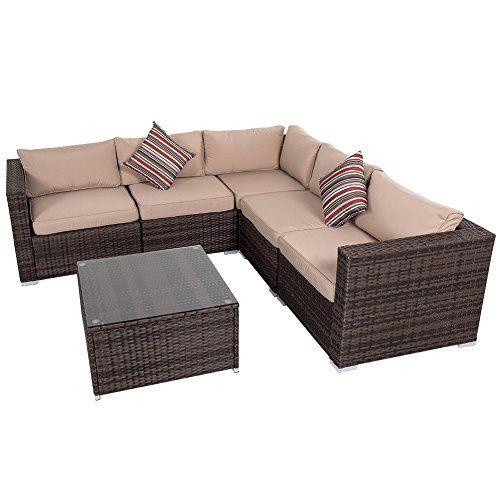 Cheap Sundale Outdoor 6 Pieces Wicker Patio Garden Furniture Sectional Sofa  Set https. 25  best ideas about Cheap rattan garden furniture on Pinterest