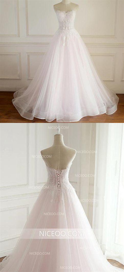 e1c19548a0 A Line Sleeveless V Neck Open Back Wedding Dresses Best Bride Gown #wedding  #bride