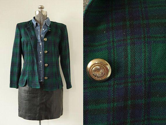 1990s Miss Dorhy Green Blue Plaid Knit Jacket Blazer Padded Shoulders