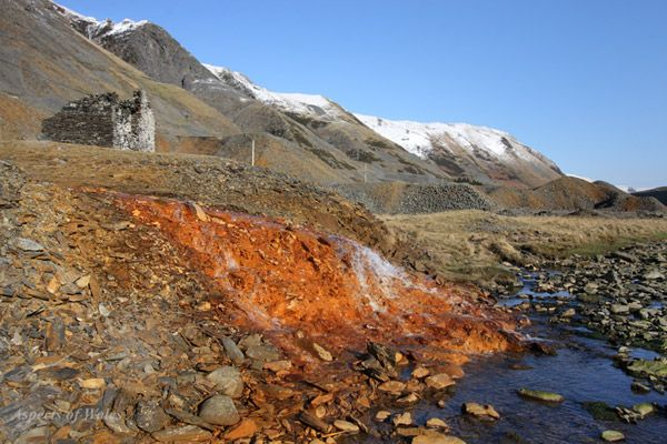 Pugh's Adit discharge, Cwmystwyth Lead Mine