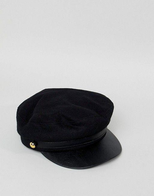 a3f4d074a9b Miss Selfridge patent peak baker boy in black