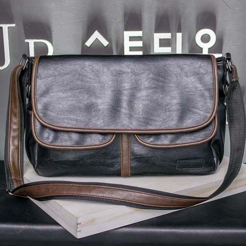 Men Vintage Shoulder Bag Waterproof Messenger High Quality Travel Handbag Faux L