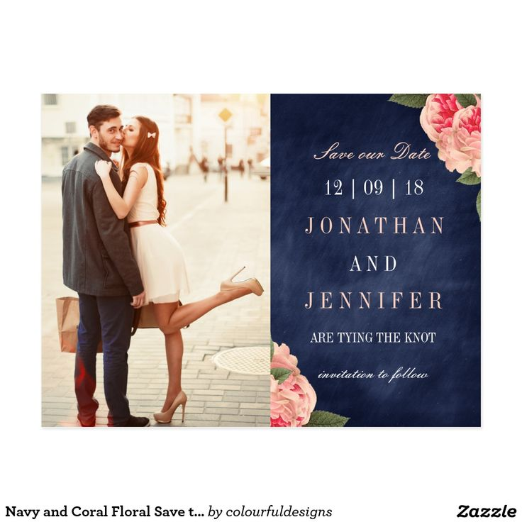 Navy and Coral Floral Save the Date Postcard