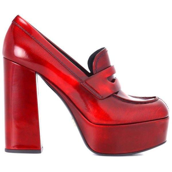 Prada Leather Plateau Pumps ($795) ❤ liked on Polyvore featuring shoes, pumps, leather shoes, real leather shoes, prada footwear, red pumps and prada shoes