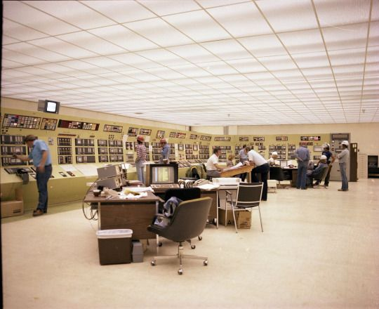 The central control room at the Alberta Gas Ethylene Plant at Joffre, 1979. The very latest in modern technology.