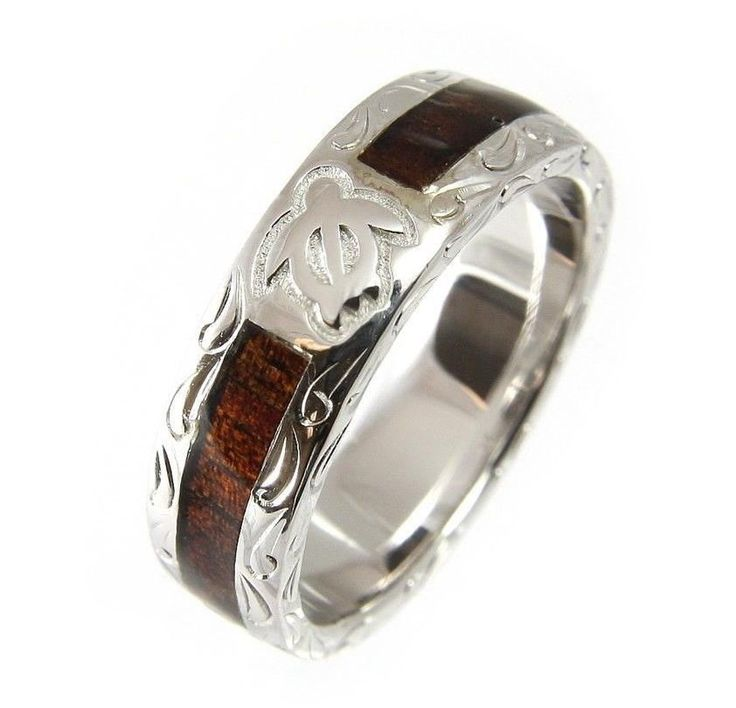 genuine hawaiian koa wood eternity wedding band ring honu turtle 925 silver 6mm - Hawaiian Wedding Rings