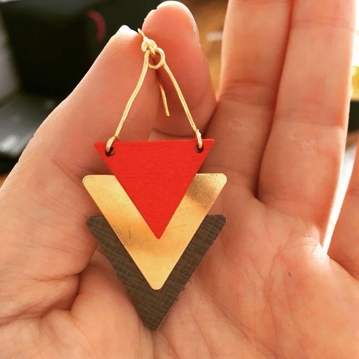 Handmade Earrings - wood/metal/leather