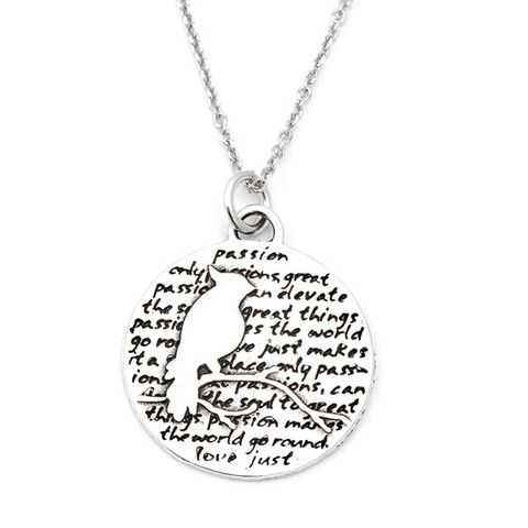 Cardinal (Passion quoe) Sterling Silver Large Pendant Necklace (Chain Length Option)