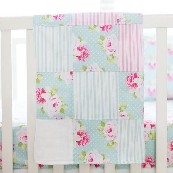 Sadie's Dance in Aqua Patchwork Crib by ThreeWishesBeddingCo