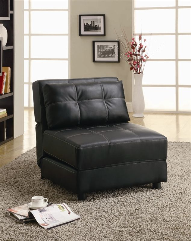 Black Vinyl Lounge Chair/Sofa Bed by Coaster - 300173