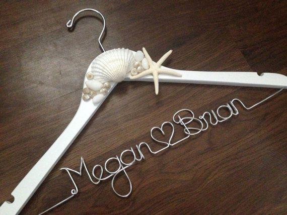 BEACH Wedding Dress Hanger, Starfish, Sea Shells, Bride Hanger, Name Hanger, Mrs Hanger, Wedding Hanger, Personalized Hanger on Etsy, $36.00