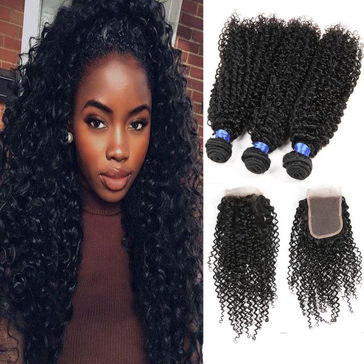 7a grade malaysian Virgin Hair kinky curly With Closure HC afro curly 3pcs With Closure malaysian tight curly hair weaves