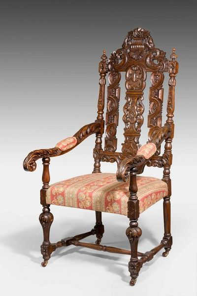 """Pair of 17th Century Style Oak Chairs Ca1880-90 England. 53""""H x 24""""W x 23""""D."""