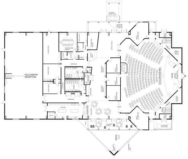 Small church floor plan designs architettura pinterest for Church floor plan designs